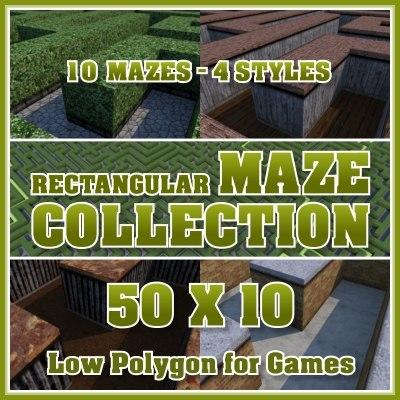 50x10 rectangular maze 3d model