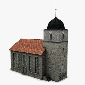 protestant church chapel 3d obj