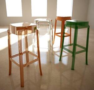 3d model stool charles ghost philippe starck