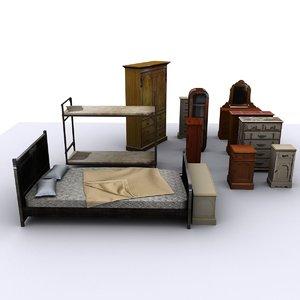 bedroom pack bed 3d 3ds