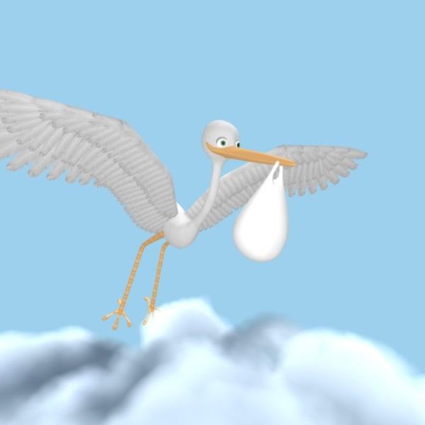 3d model stork clouds