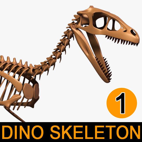 dino skeleton dromaeosaurus separate 3d max