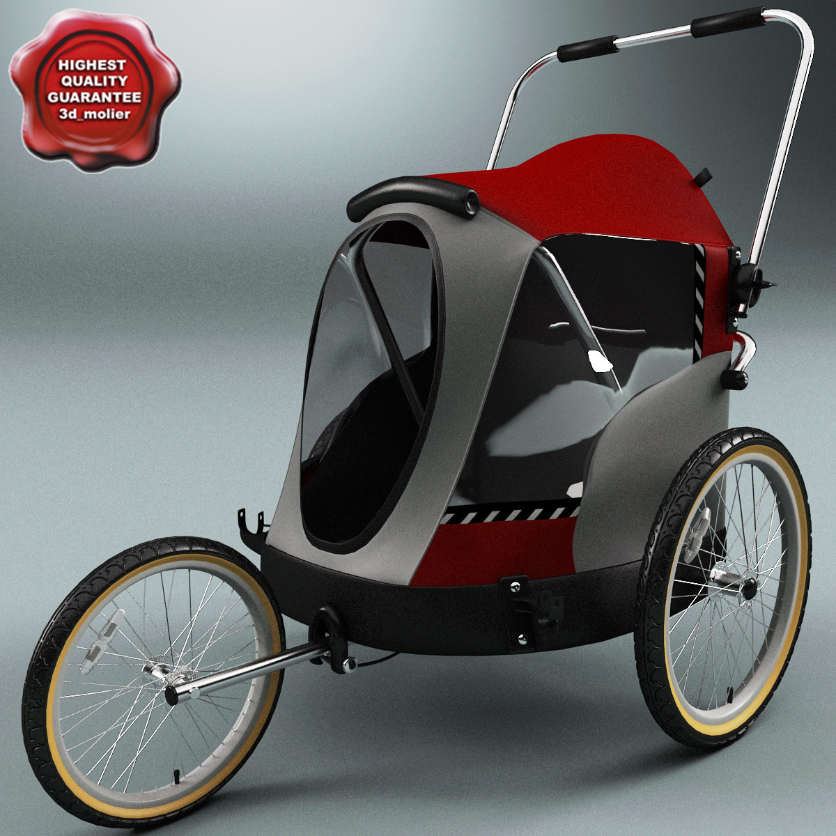 pet bicycle trailer v2 3d model