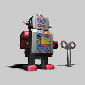 3d tin toy robot model