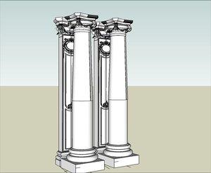 3d classic squared column