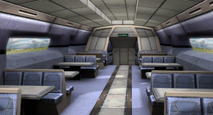 optimized train interior 3ds