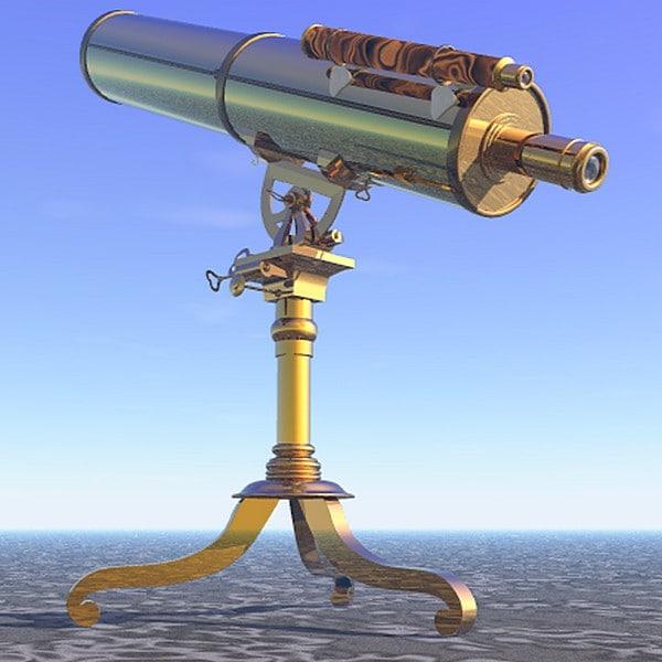 3d brass telescope