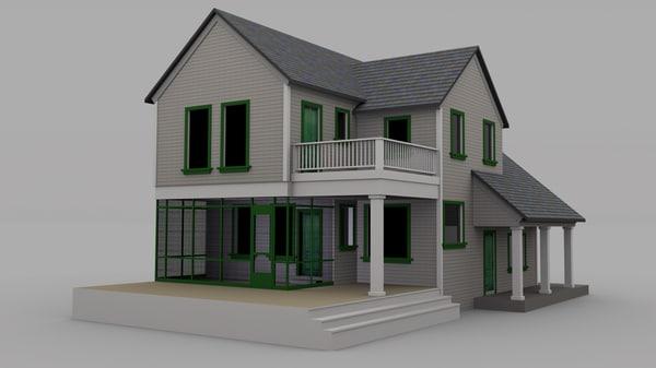 farmhouse house 3d obj