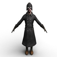 rigged ww1 german pilot 3d model