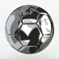 metal soccer ball earth 3d max