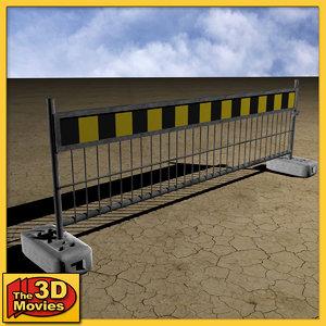 yellow-black construction barrier 3d max