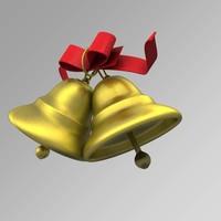 golden christmas bells c4d