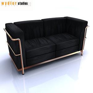 le corbusier sofa lc2 3d 3ds