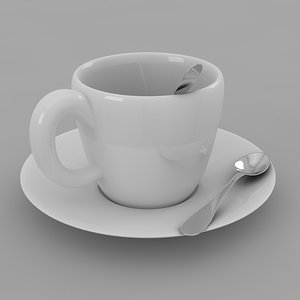 3d cup saucer spoon