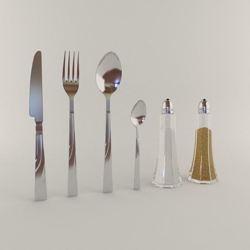 3d model set fork knife