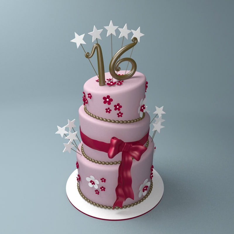3d model of lopsided birthday cake sweet