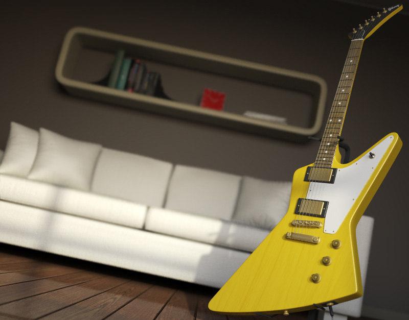 3d 3ds guitar gibson 1958 korina