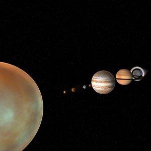 3d solar sun planets model