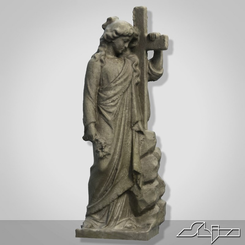 woman cross sculpture 3d max