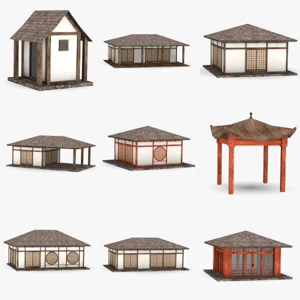 3d japanese houses model