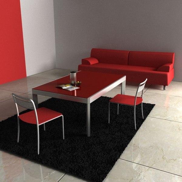 chair table sofa materials 3d model
