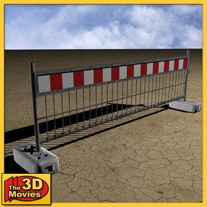 3d model red-white construction barrier