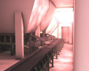 c4d belt conveyor hall