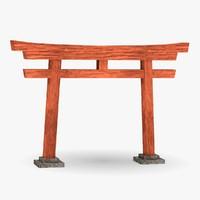 3d model japanese gate