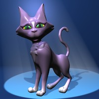 cute lady cat rigged 3d max