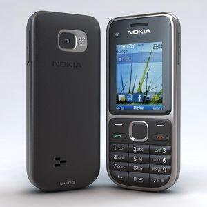 3d model of nokia c2-01 black phone