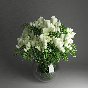 bowl flowers freesia 3d model