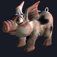 obj pig piglet