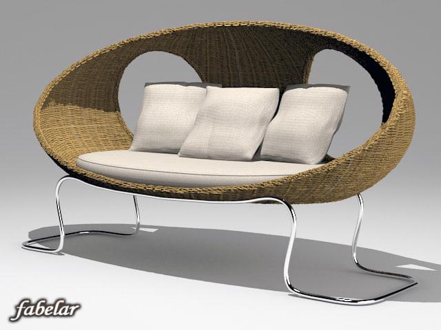 3d model wicker sofa