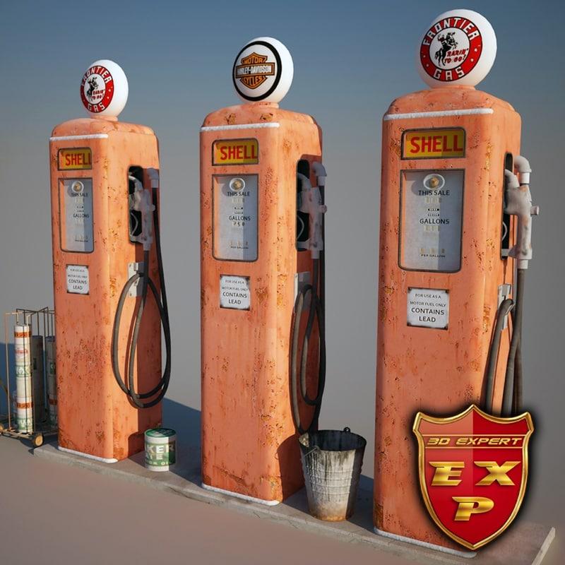 3d model old gas station