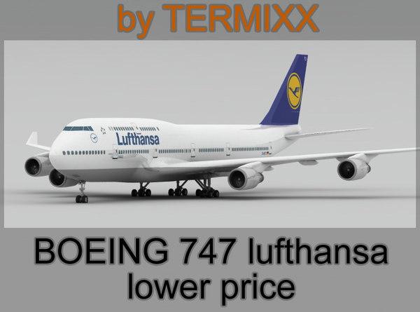 3d model airplane boeing 747 lufthansa