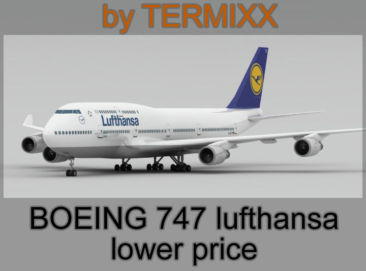 3d model airplane boeing 747 lufthansa