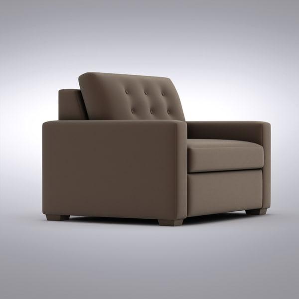Crate Barrel Sofa 3d Model