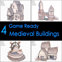 Medieval Buildings Collection II, Low Poly, Textured