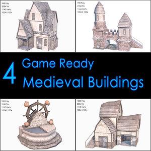 3d model medieval buildings ii house