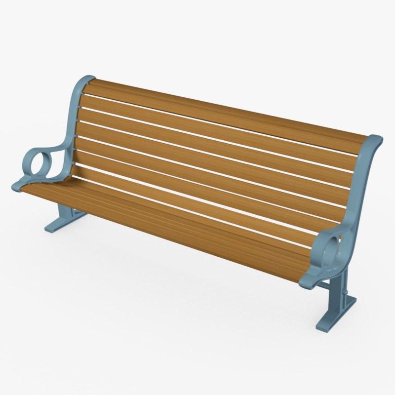 park bench 3d obj