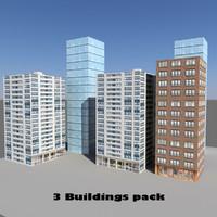 pack 3 buildings 3d lwo