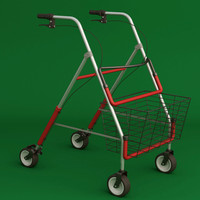 folding wheeled walker 3d model
