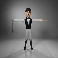 man character jockey 3d model