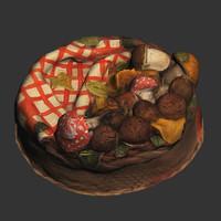 3ds max cake basket mushrooms