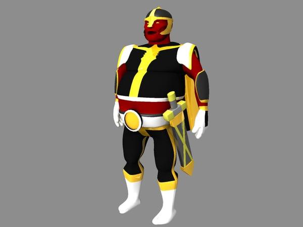 retro super hero 3d model