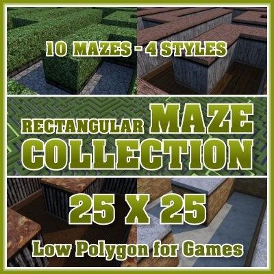 3d model of 25x25 rectangular maze
