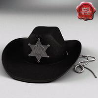 black sheriff hat 3d model