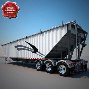 commercial tridem trailer bulker 3d 3ds