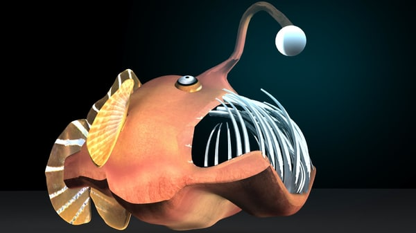 3d scary angler fish