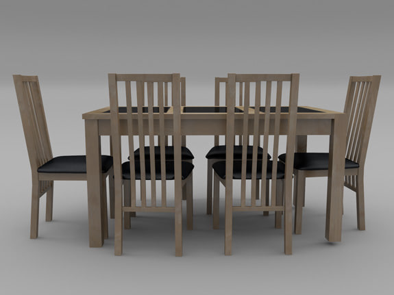 3d model of chair table set
